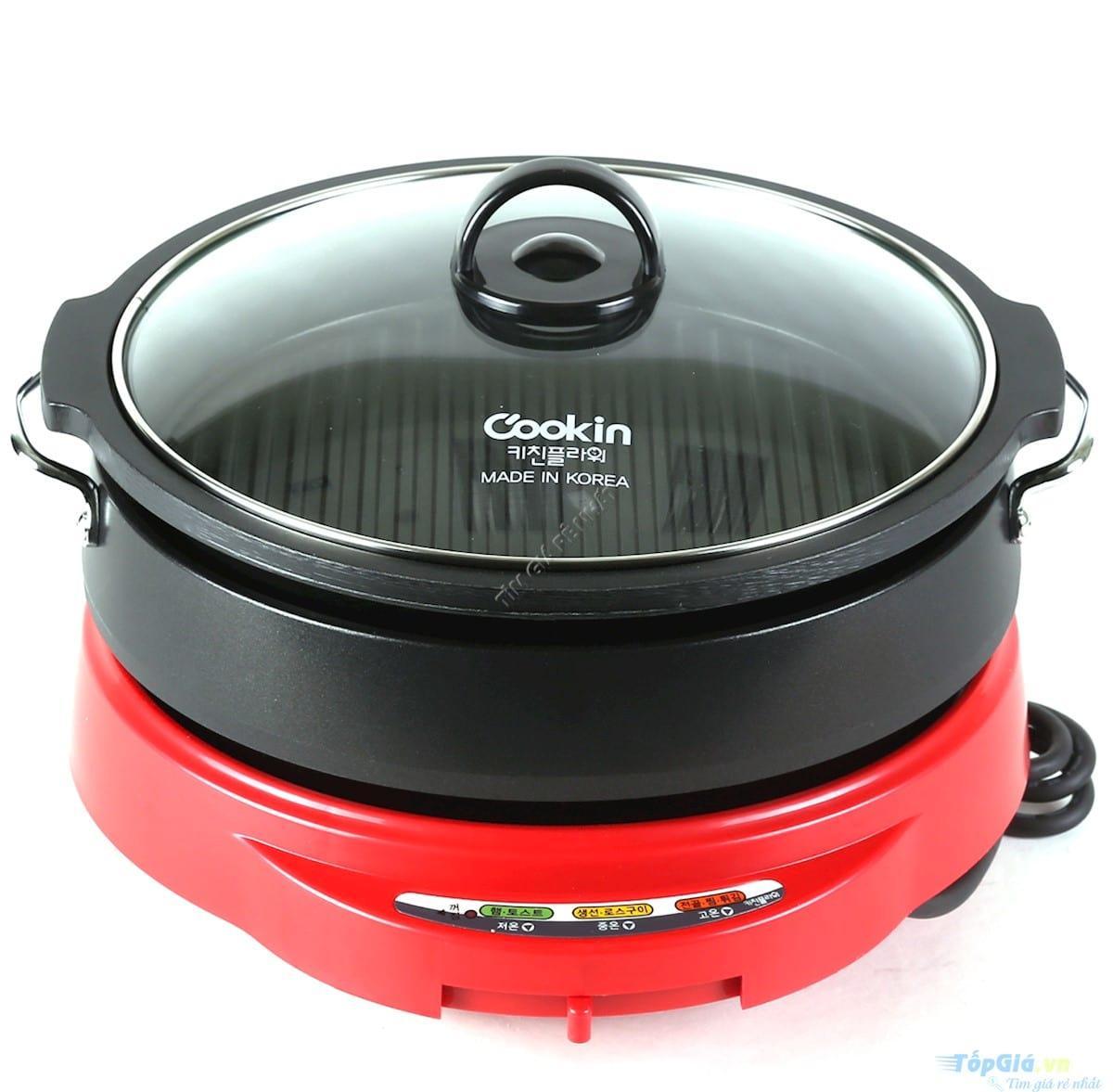 Hình ảnh Nồi lẩu và nướng điện Cookin KEP-105 (Đỏ phối đen) - Hàng nhập khẩu