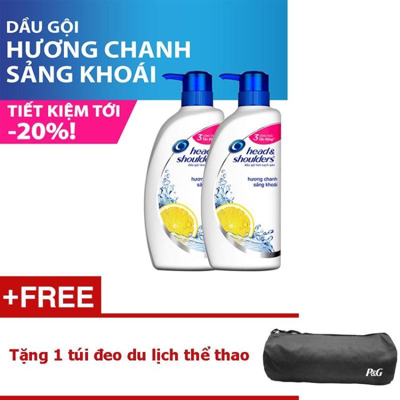 Bộ 2 Dầu gội Head & Shoulders Hương Chanh sảng khoái  625ml + Tặng 1 túi đeo du lịch thể thao (Màu ngẫu nhiên)