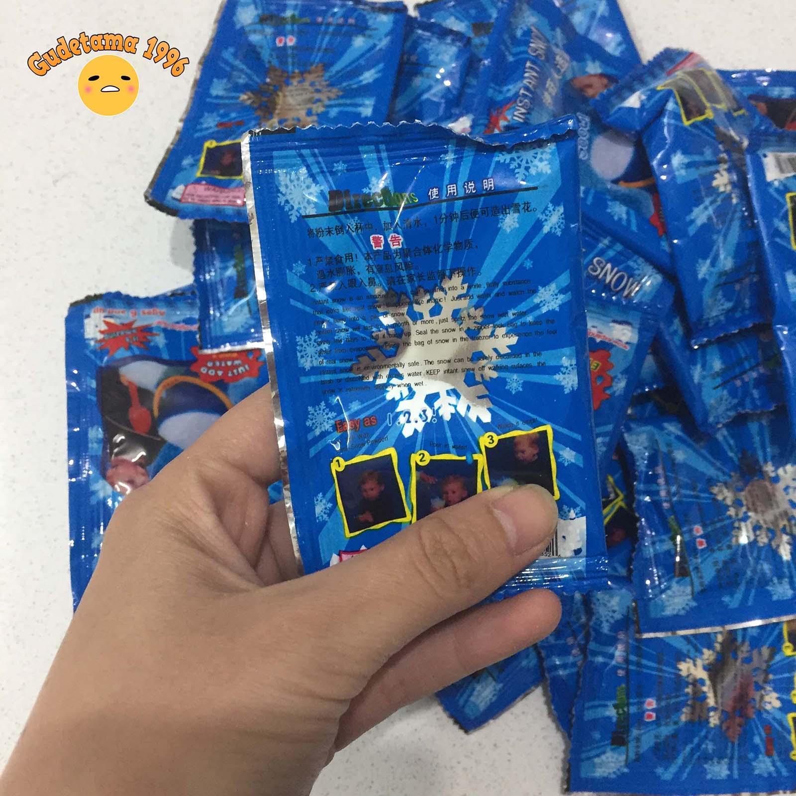 Hình ảnh Combo 50 gói tuyết nhân tạo làm slime mây + giá cực rẻ - Tuyết nhân tạo gói xanh bông tuyết bạc