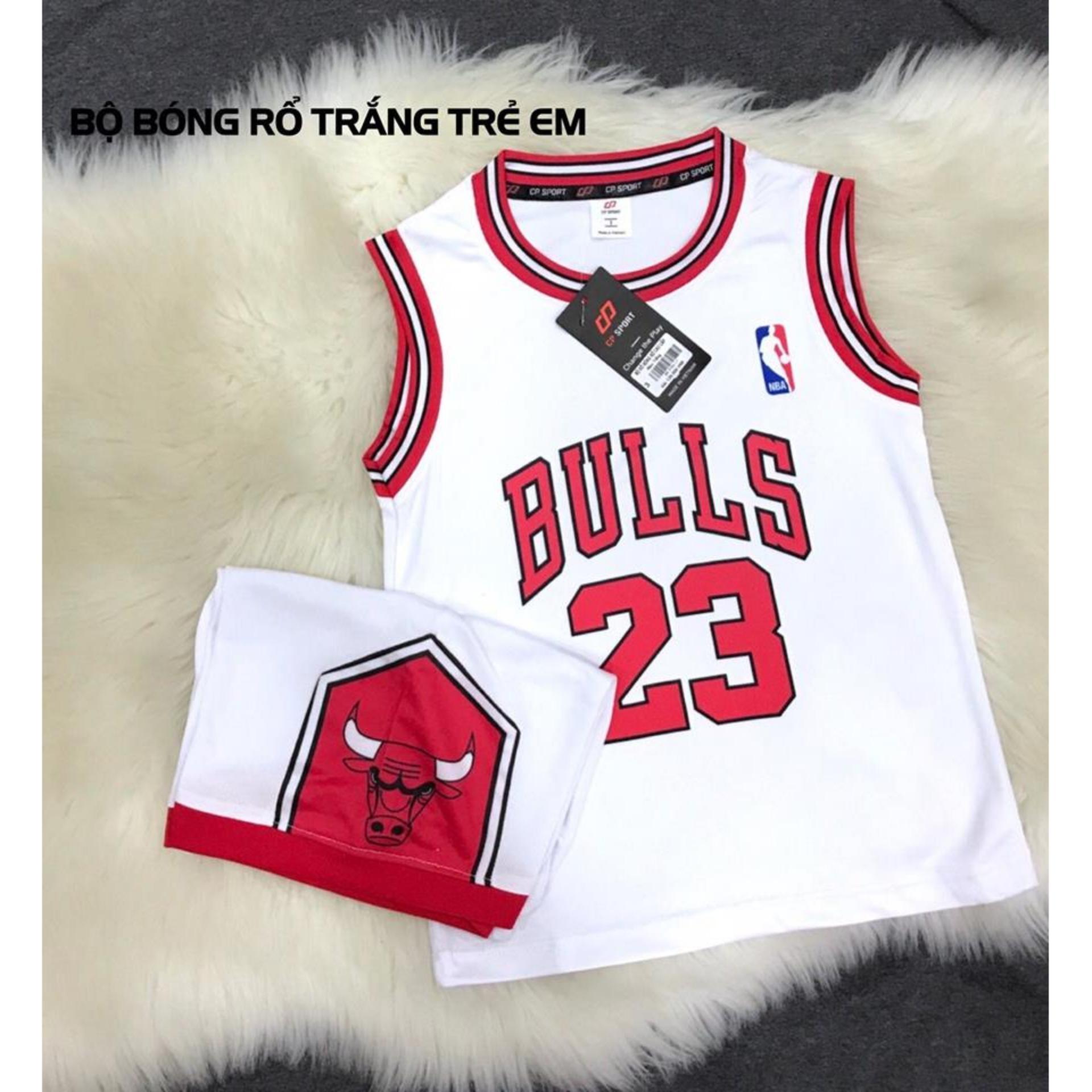Hình ảnh Áo bóng rổ trẻ em Bulls 23 màu trắng