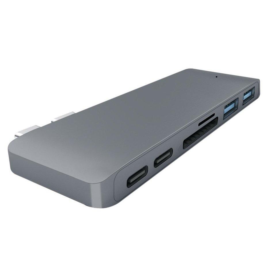 E-ERA Portable 6-In-1 USB Tipe-C HUB USB3.0 Adaptor Pembaca Kartu Hub untuk MacBook Pro