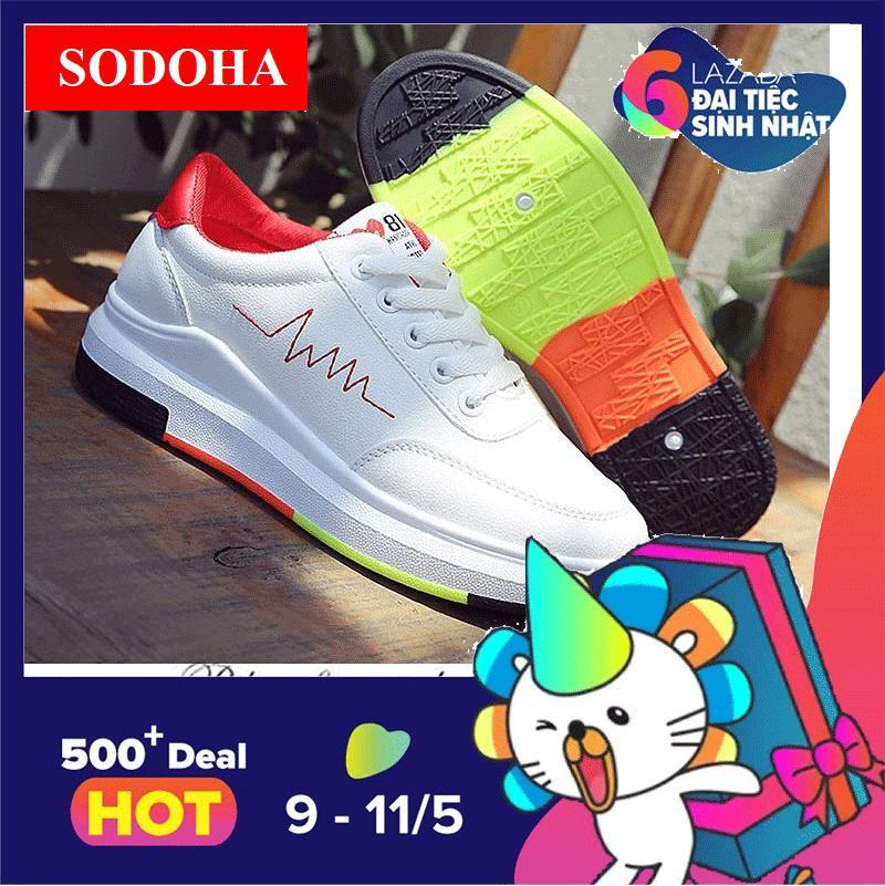 Ôn Tập Giay Sneaker Thể Thao Nữ Sodoha Shop Sn 36Hq89R Trắng Phối Đỏ Sodoha