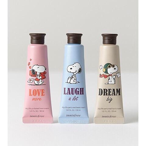 Hình ảnh Kem dưỡng da tay Innisfree Jeju Life Perfumed Hand Cream phiên bản Snoopy vô cùng đáng yêu