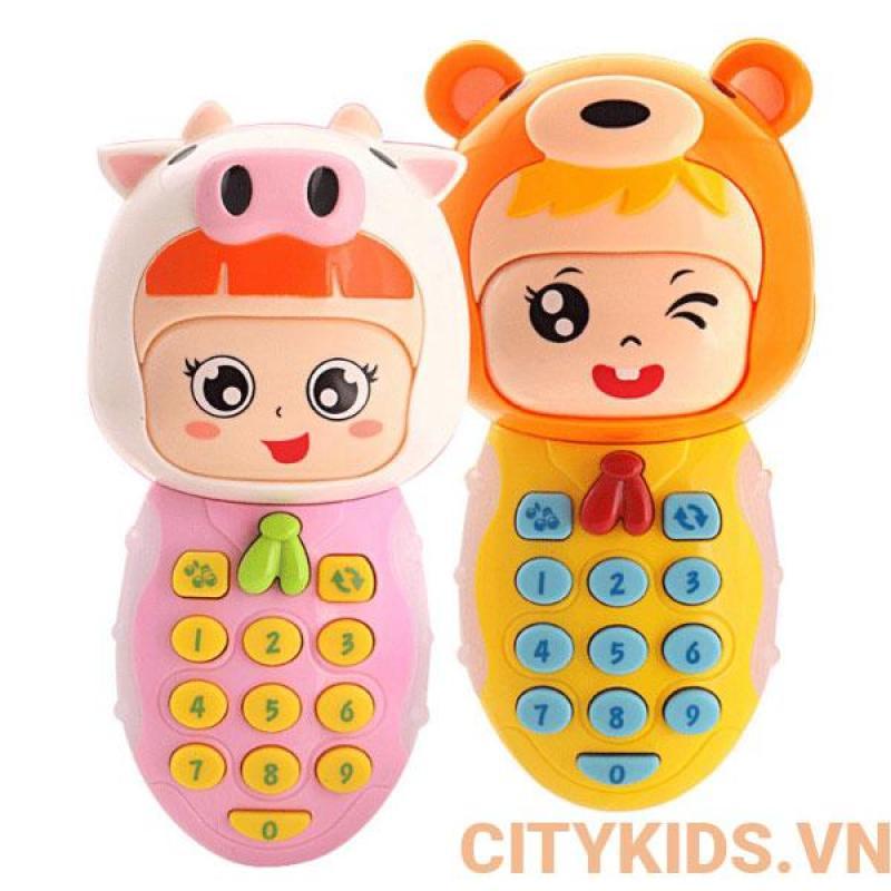 Đồ chơi điện thoại phát nhạc, âm thanh, ánh sáng và thay đổi biểu cảm khuôn mặt.