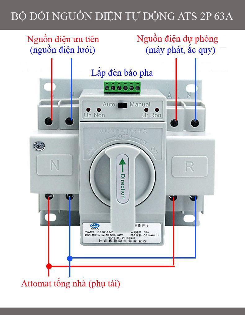 Hình ảnh Bộ đổi nguồn điện tự động ATS 2P 63A