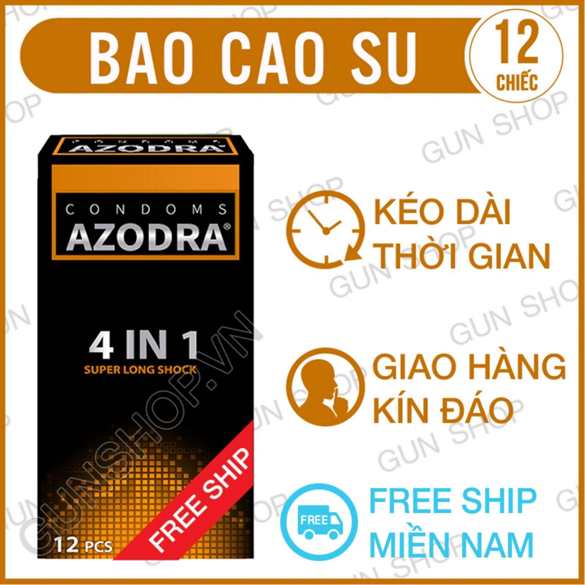 Hình ảnh [Freeship] Bao Cao Su Azodra Tổng Hợp Gân, Gai, Mỏng, Kéo Dài Thời Gian Quan Hệ ( hộp 12 chiếc ) - [ Gunshop-BCS01 ]