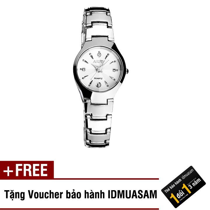 Hình ảnh Đồng hồ nữ dây thép không gỉ cao cấp Nary 2564 + Tặng kèm voucher bảo hành IDMUASAM