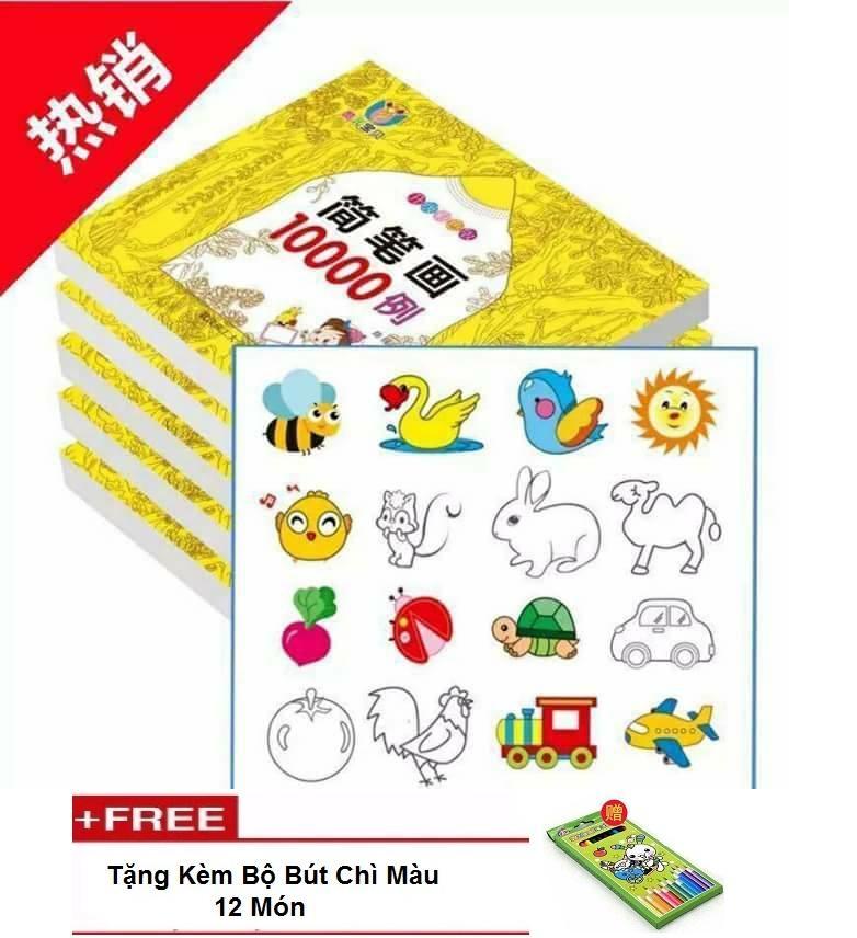 Hình ảnh Bộ sách tô màu 10.000 tranh tặng kèm hộp bút màu cho bé ( Cai Nghiện Ngay IPAT vs Điện Thoai Cho Bé)