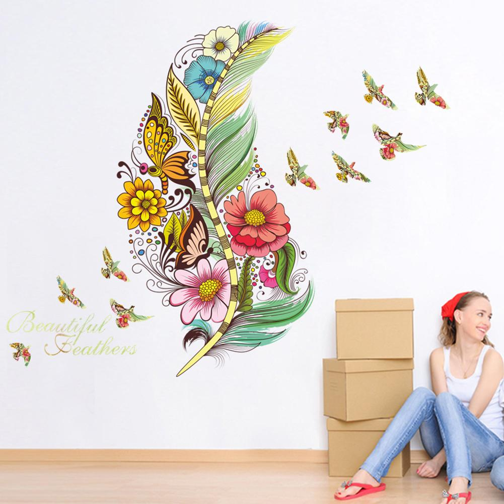 Chic Colored Feather Wall Sticker DIY Art Mural Home Wall Decoration