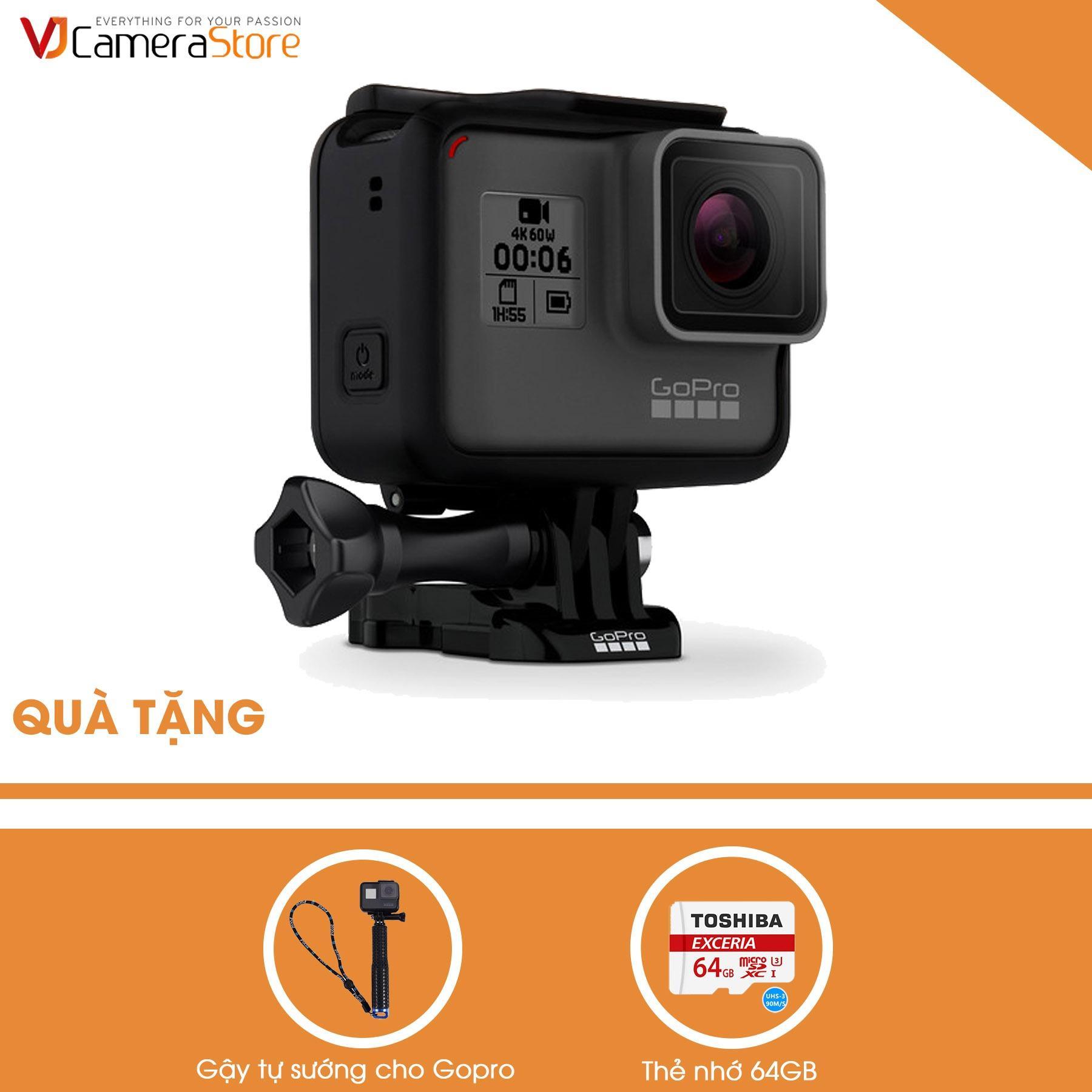 Hình ảnh GoPro Hero 6 Black + Gậy tự sướng cho gopro + thẻ 64GB tốc độ 90MB/s - Hàng phân phối chính thức