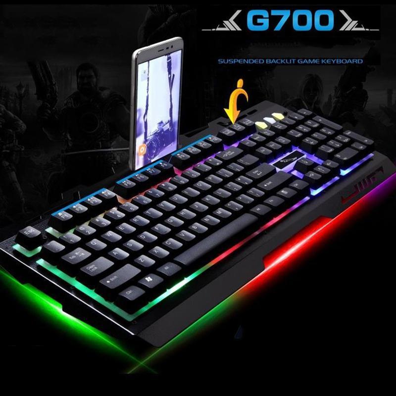 Hình ảnh Gia Linh Kien May Vi Tinh De Ban, Bàn phím Gaming G700HD1662, hình khóa màn hình - Combo Chuột & Bàn phím LED hàng chuẩn giá cao