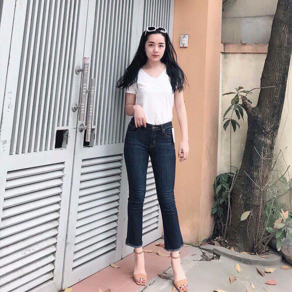 Chiết Khấu Quần Jeans 9 Tấc Ống Loe Mau Đậm Nữ Cao Cấp Jeans Fashion Hồ Chí Minh