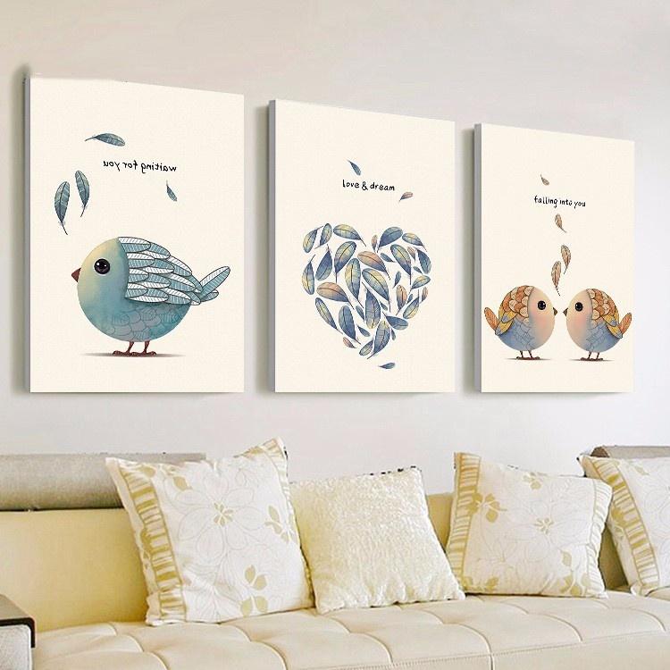 Bộ 3 tranh treo tường Chim hót 5