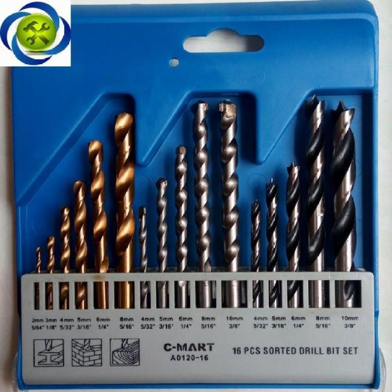 Bộ mũi khoan tổng hợp C-MART A0120-16 16 chi tiết