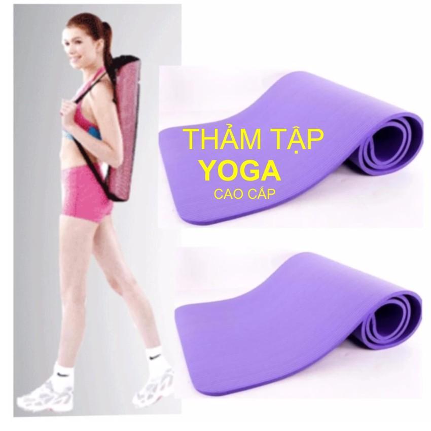 Hình ảnh Thảm tập Yoga siêu bền loại dày 10mm TPE (xanh) +Tăng Túi Đựng Kích Thước 1m80 x 61cm x 10mm