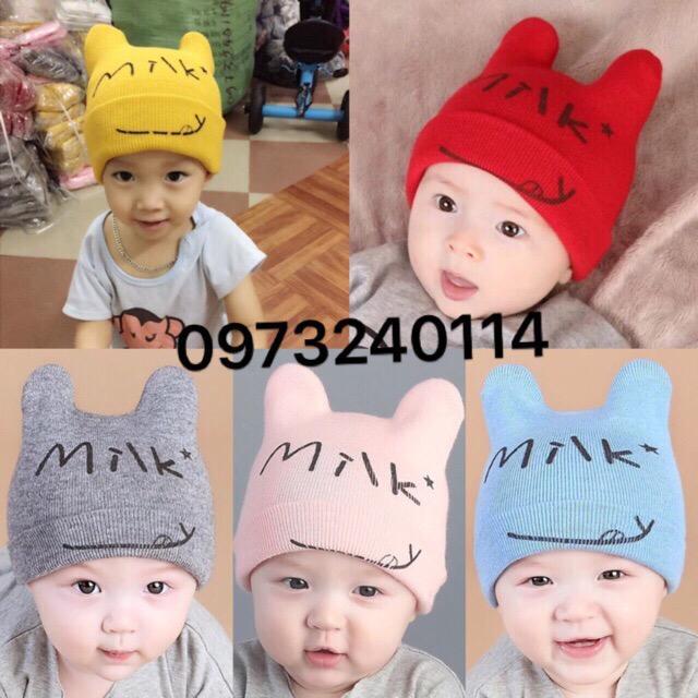 Hình ảnh Mũ len milk cho bé trai