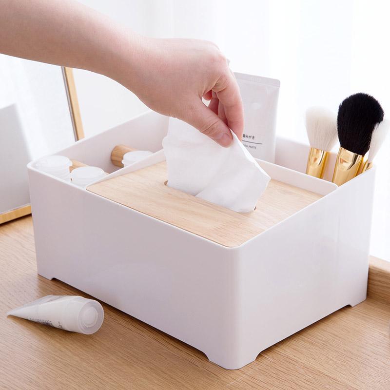 Ju la casa Multi-functional Logs Tissue Box Household Bedroom Paper Extraction Box Living Room Desktop Teapoy Table Remote Control Storage Box