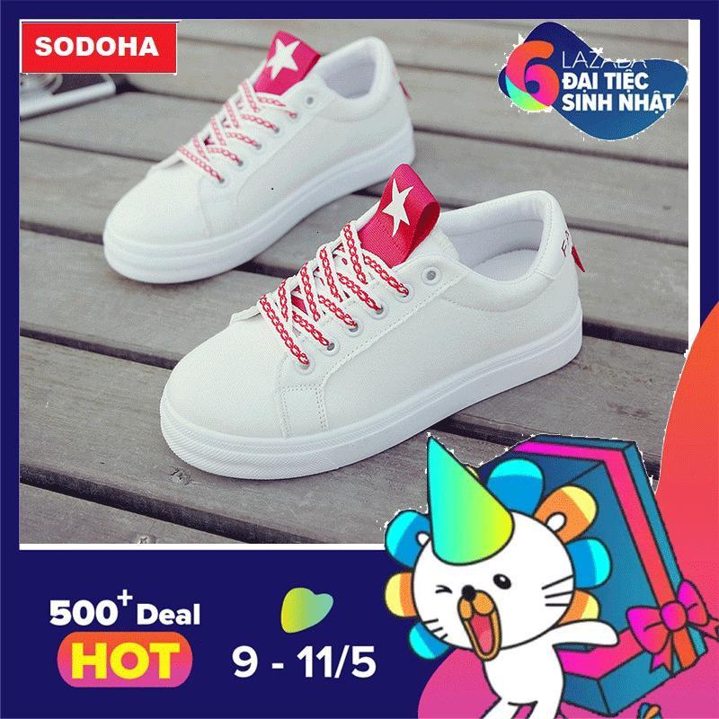 Ôn Tập Tốt Nhất Giay Sneaker Thời Trang Nữ Top New Sodoha Sn6688Td Trắng Phối Đỏ