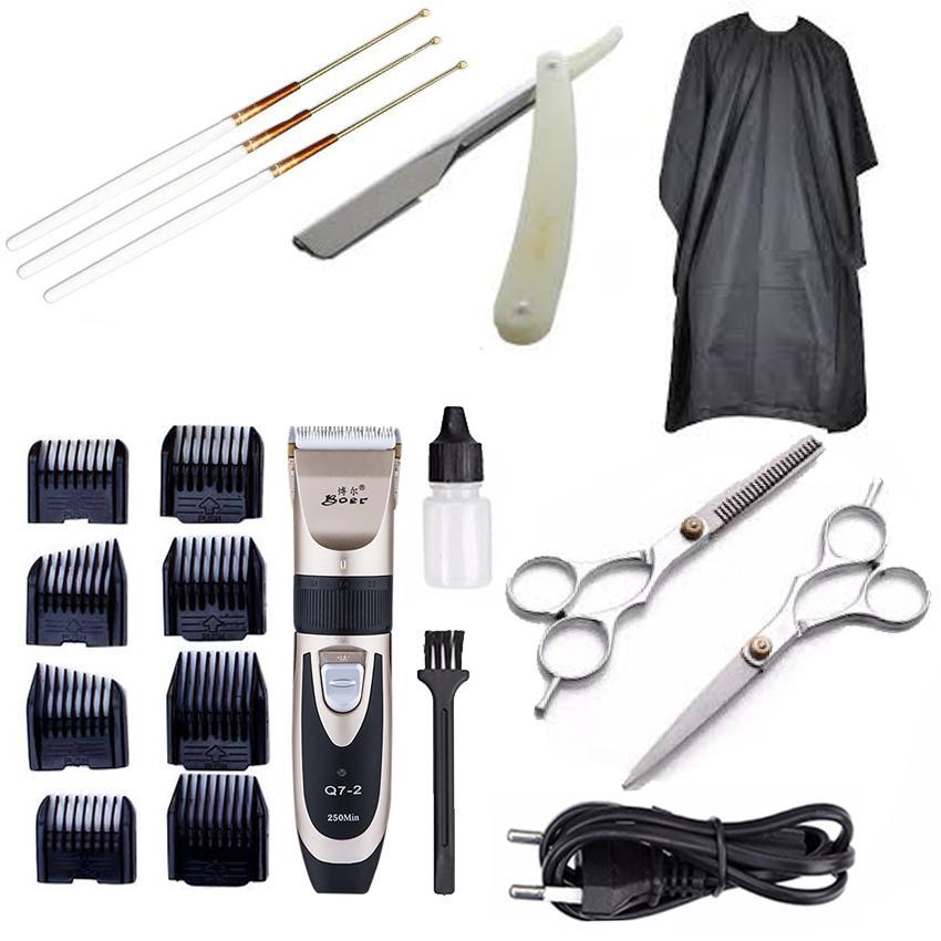 Bộ Tông Đơ Cắt Tóc BoJia A7 Tặng kèm 2 kéo cắt kéo tỉa ,áo choàng, dao cạo, lấy ráy tai