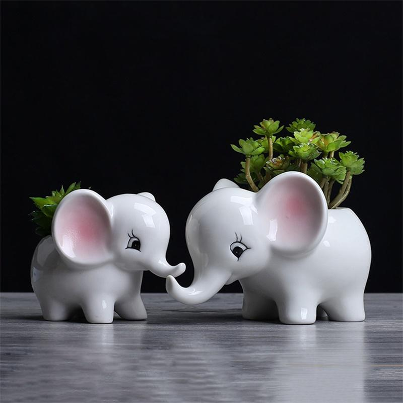 yunmiao Animals Shape Ceramic Flower Pot Elephant Succulent Planter Cactus Succulent Plants Flower Cute White Pot Flowerpot