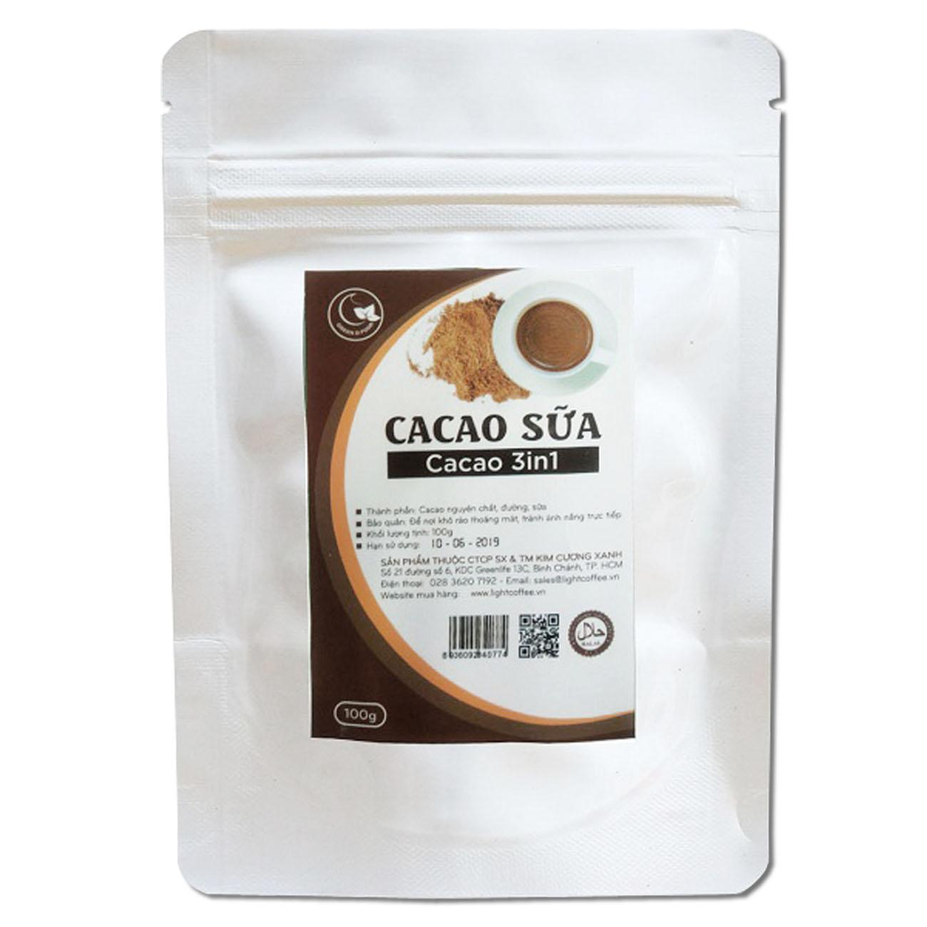 Cacao 3in1 nguyên chất 100% - Light Cacao - 100gr