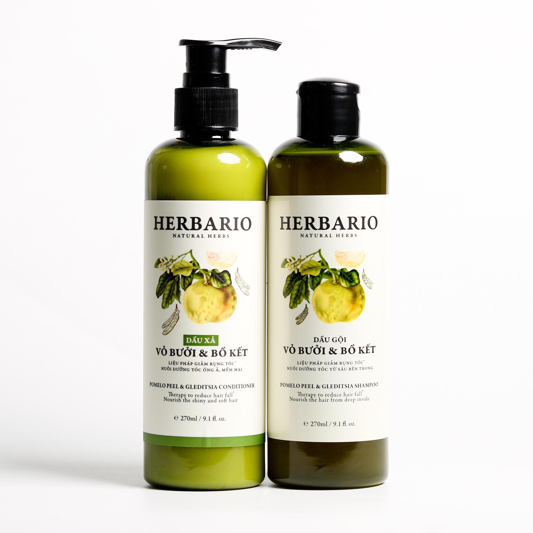Bộ dầu gội herbario + Dầu xả tóc vỏ bưởi & bồ kết chuyên tóc