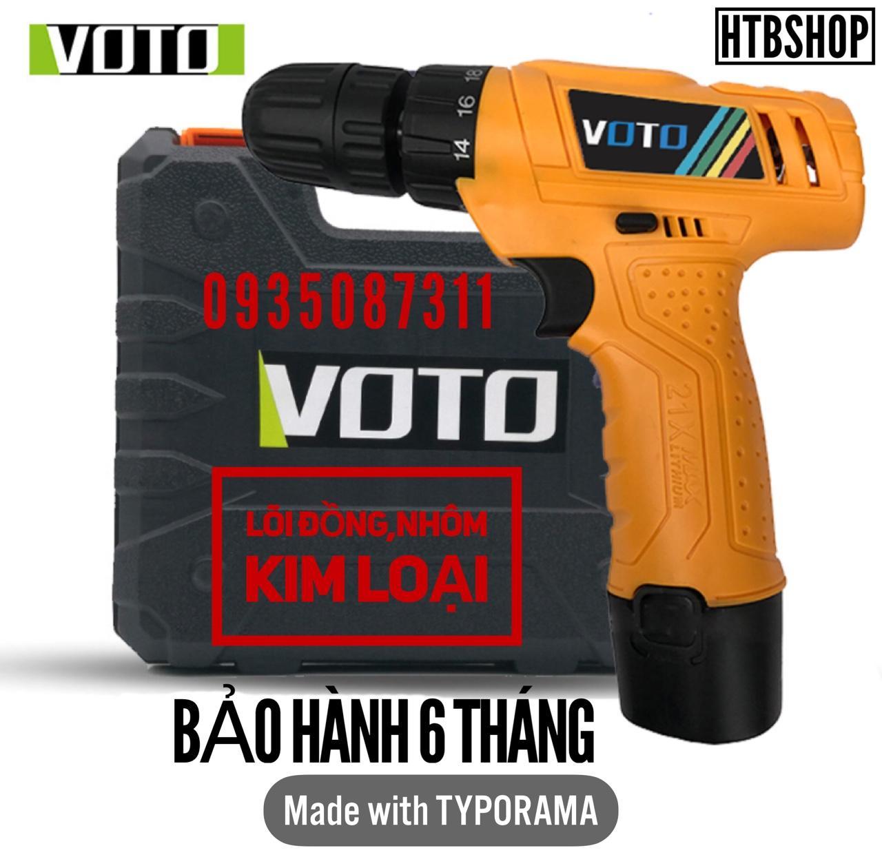 Mát Khoan Pin 12V VOTO,Hộp Nhựa,1 Pin,Mẫu 2018,Mã VT200,Bảo Hành 6 Tháng