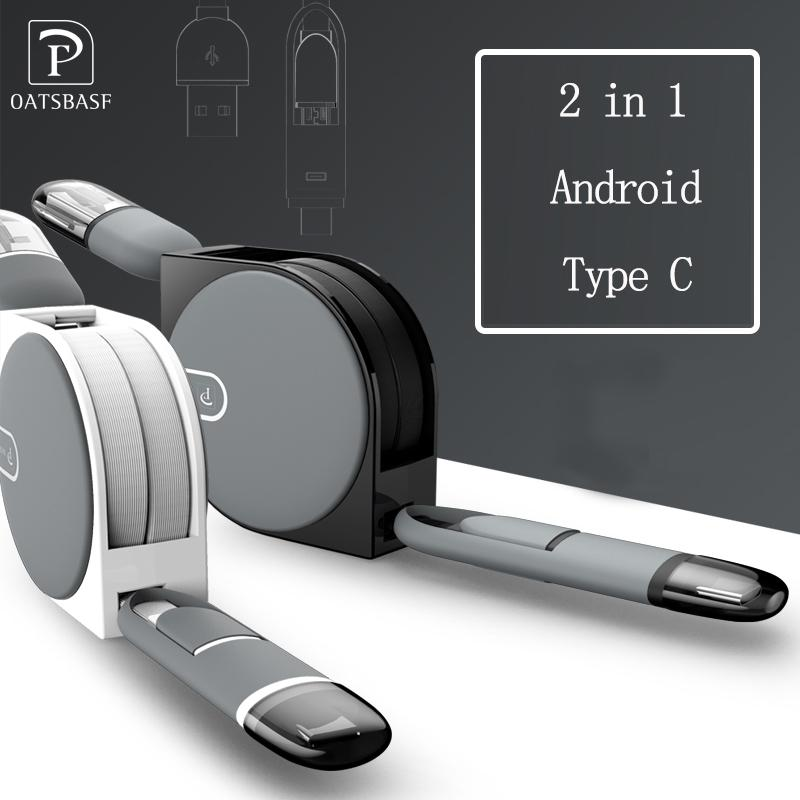 2 In 1 TYPE C Port + Android Usb Mikro Kabel untuk Samsung Xiaomi Huawei Pengisi Daya Gulung Port USB dan Data Transfer-Intl