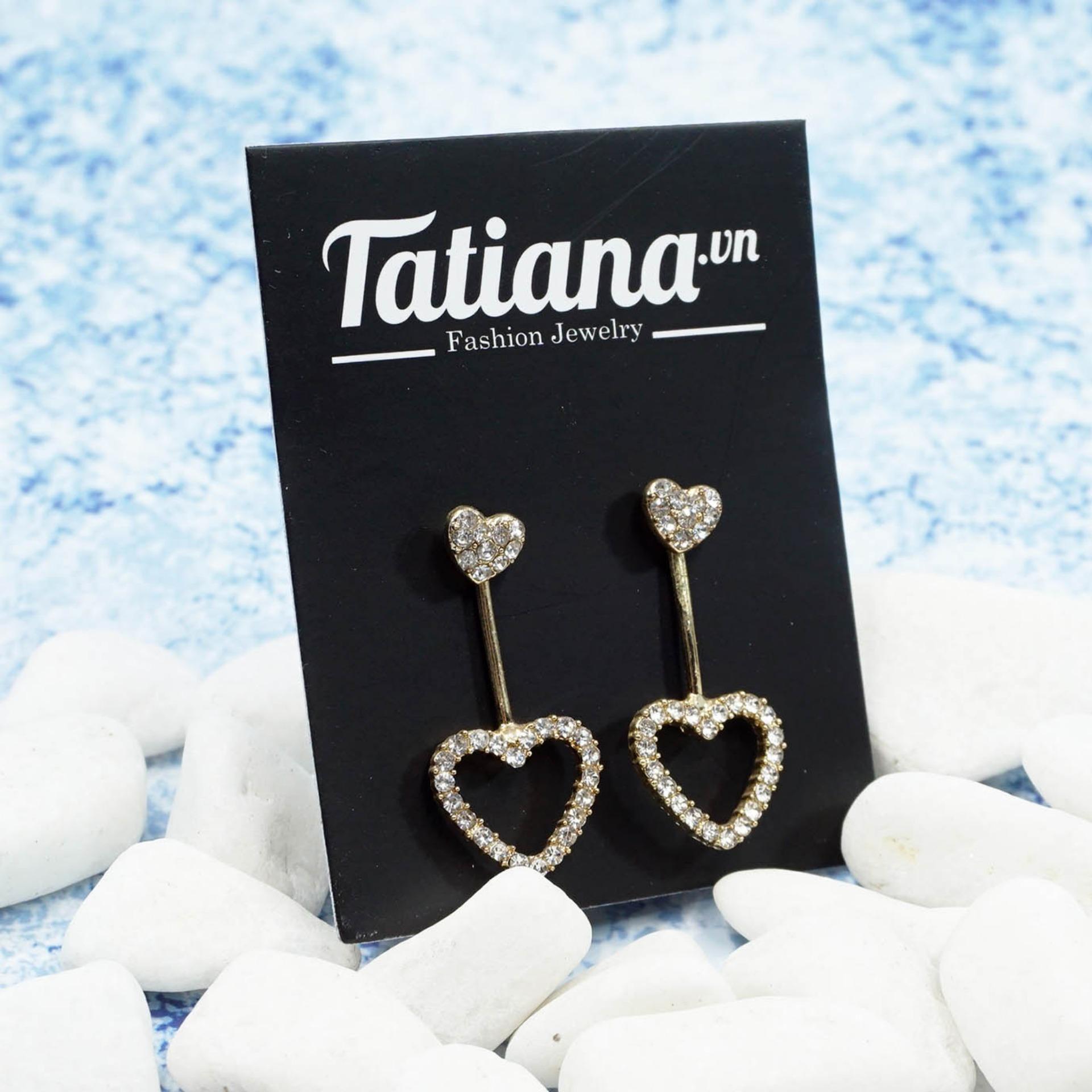 Ôn Tập Tốt Nhất Bong Tai Double Heart Tatiana B2843 Vang