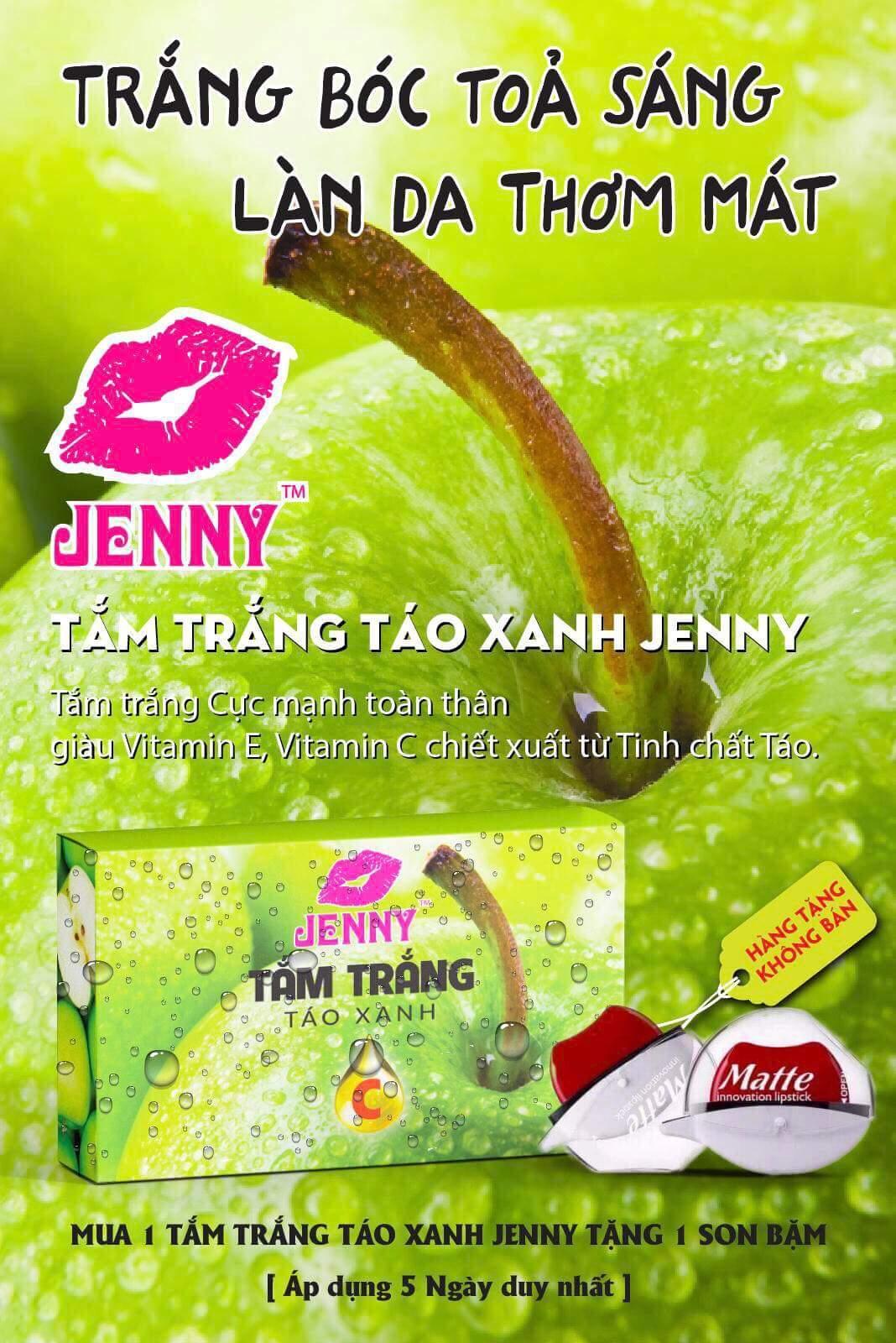 Hình ảnh Tắm Trắng Mạnh Táo Xanh Vitamin C Jenny 1 Tặng Son Bặm Matte Me.Now Chính Hãng