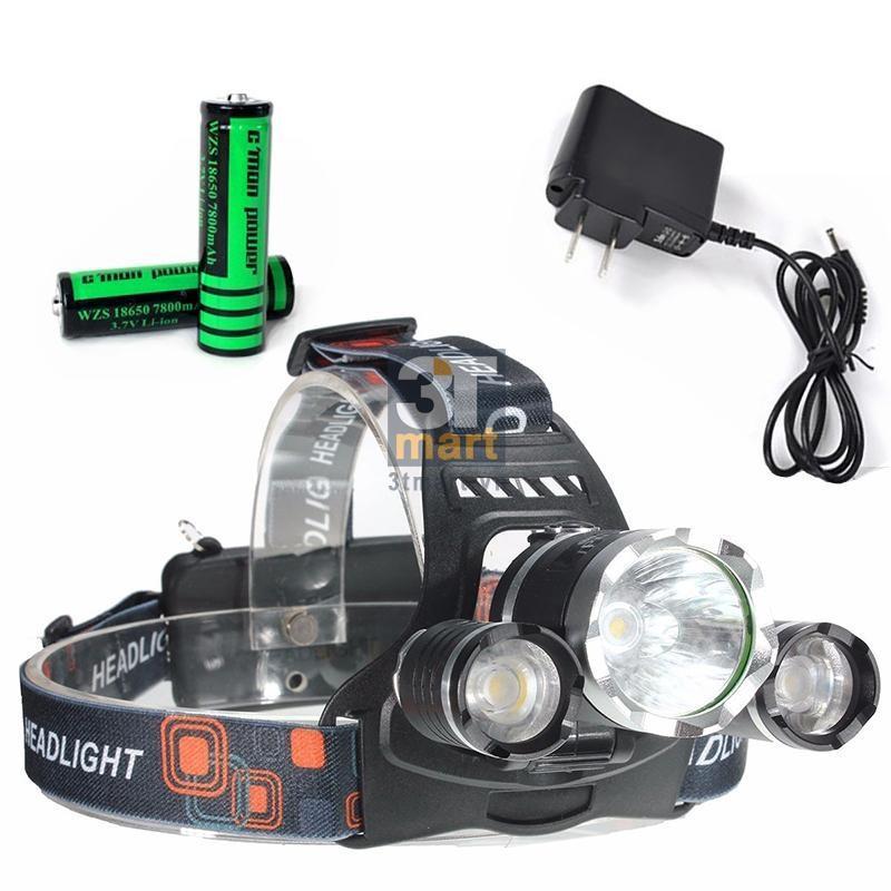Hình ảnh Đèn pin Led siêu sáng đội đầu 3 bóng (Đen) + Kèm hai Pin + Kèm Thêm Sạc- Hàng Nhập Khẩu
