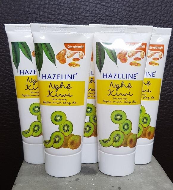 Hình ảnh Combo 5 tuýp kem rửa mặt sáng da hazeline kiwi nghệ 15g+ Túi đựng mỹ phẩm xinh xắn