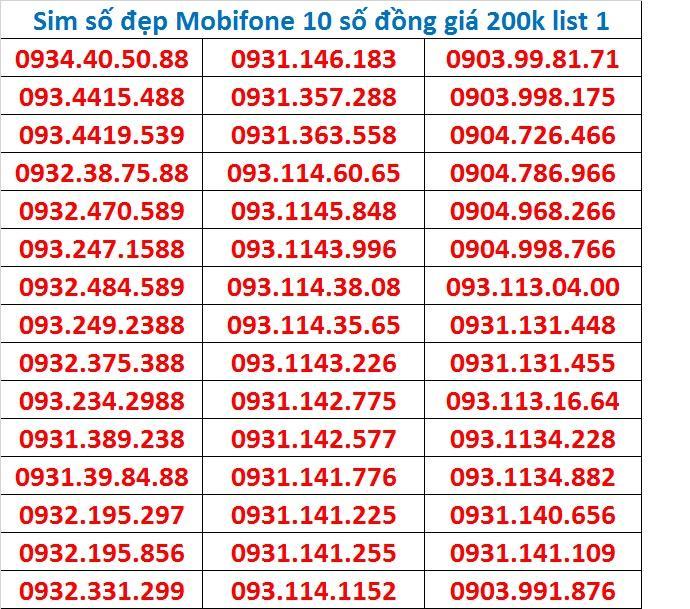 SIM SỐ ĐẸP MOBIFONE 10 SỐ ĐỒNG GIÁ 200K