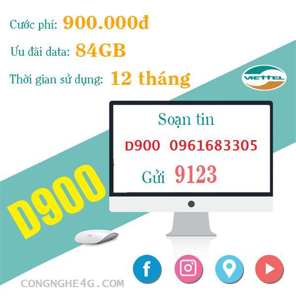 Bán Sim Viettel D900 7Gb Thang Viettel 4G Có Thương Hiệu