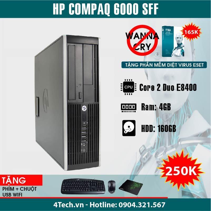 Máy tính để bàn HP Compaq 6000 Pro SFF Core 2 Duo E8400 (Đen) + Tặng bộ bàn phím + Chuột + Bàn di chuột - Hàng Nhập Khẩu