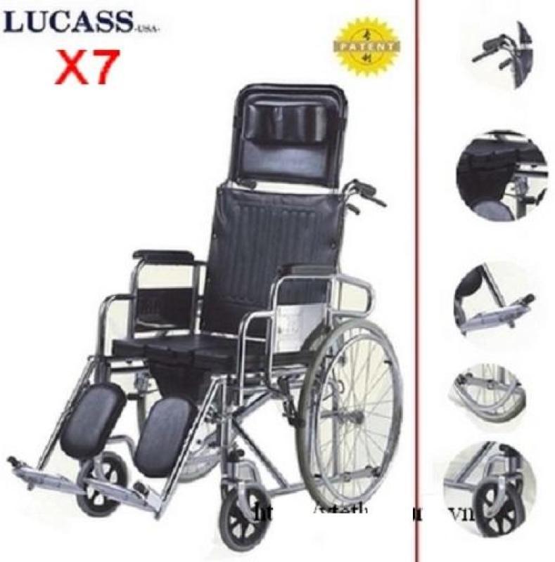 Xe Lăn Đa Năng Lucass X7 - Có Bô Vệ Sinh - Có Thể Ngã Nằm - Có 2 Tay Thắng Tiện Dụng nhập khẩu