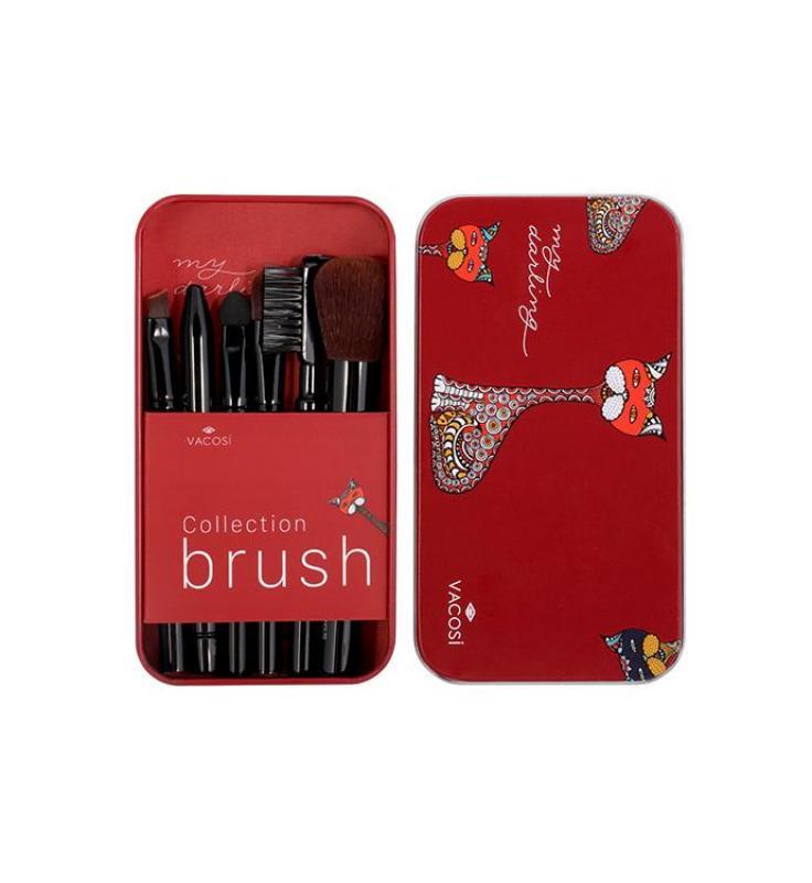 Bộ cọ trang điểm hộp sắt mini 6 cây Vacosi Collection Makeup House (Hồng) (Hàng Chính Hãng) nhập khẩu