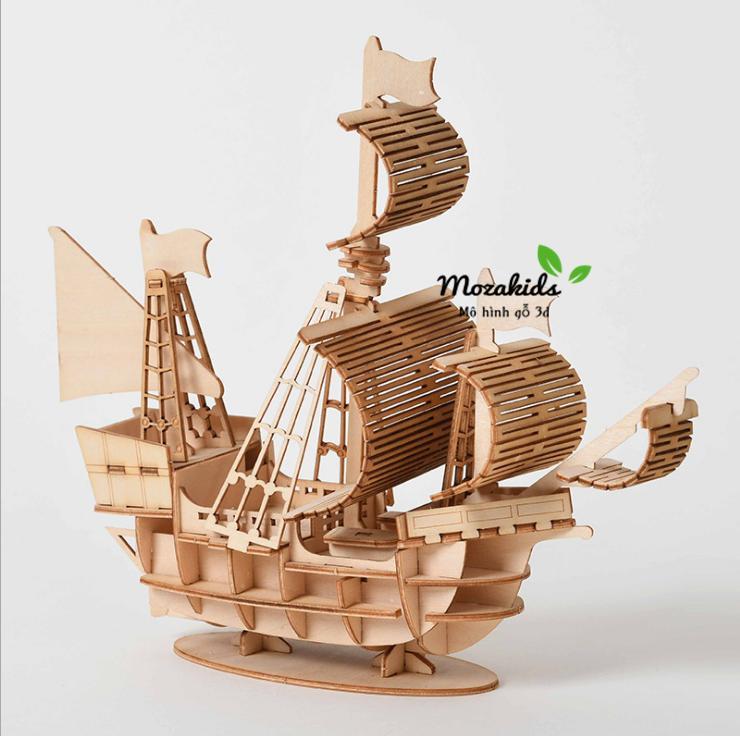Hình ảnh Đồ chơi lắp ráp gỗ 3D Mô hình Thuyền Buồm Sailing Ship