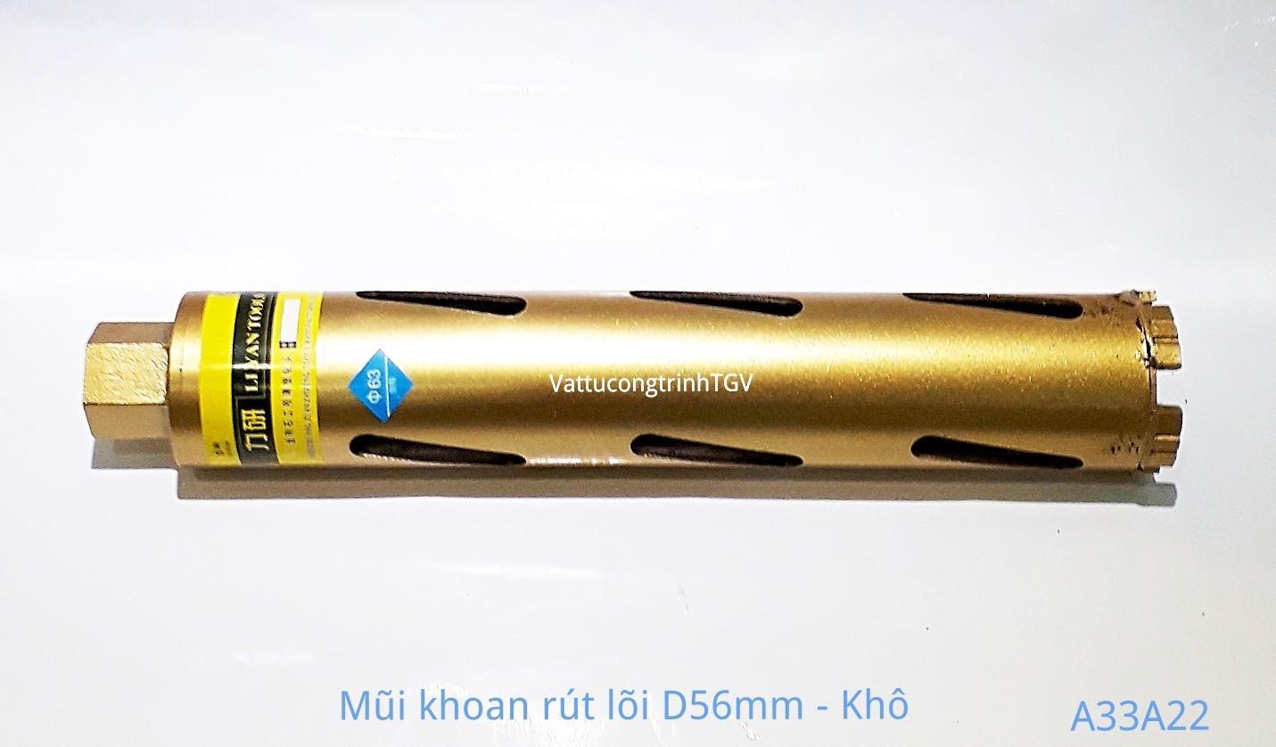 Mũi khoan rút lõi Vàng D56mm ( mũi khô)