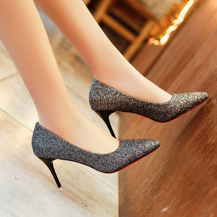 2019 Spring And Autumn New Style Korean Style Pointed High Heel Shoes  Golden Dull Polish Shallow 47a8f9730c05