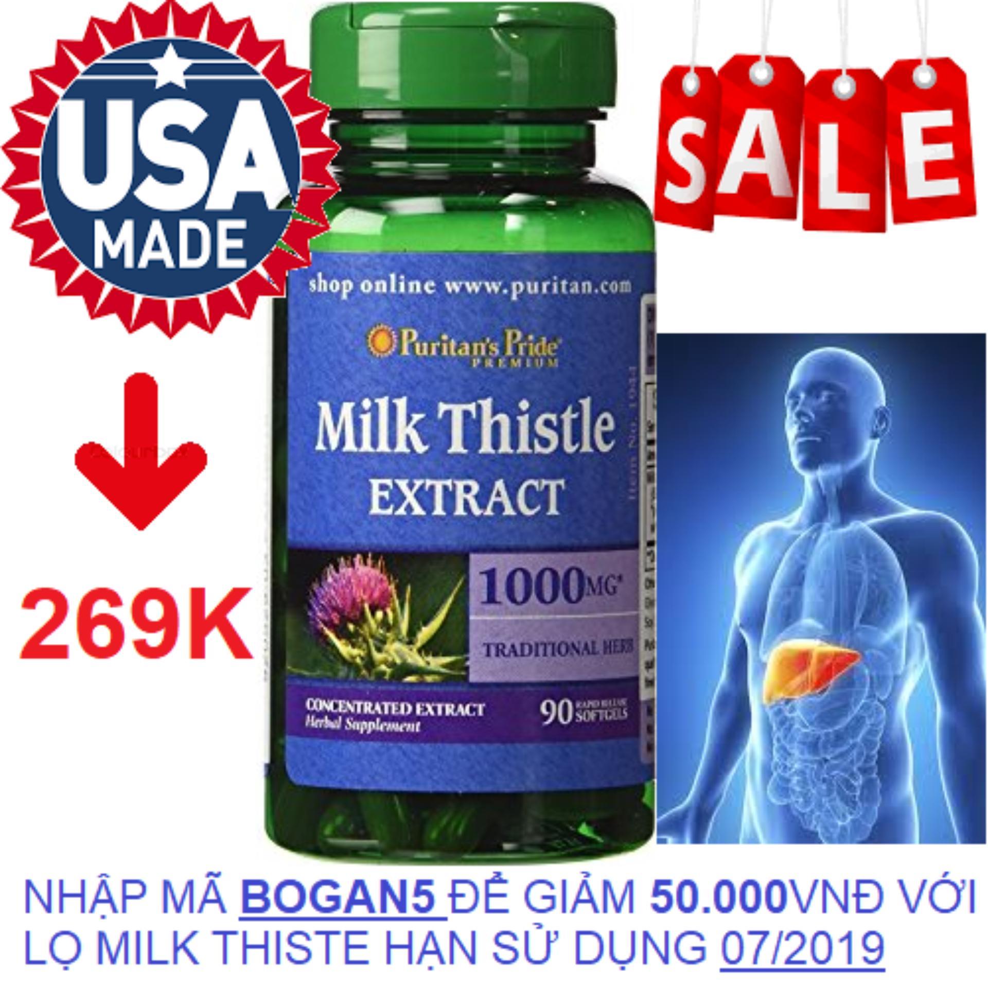 Viên uống bổ gan, giải độc gan, tăng cường chức năng gan Puritans Pride Milk Thistle Extract 1000mg 90 viên HSD tháng 7/2019