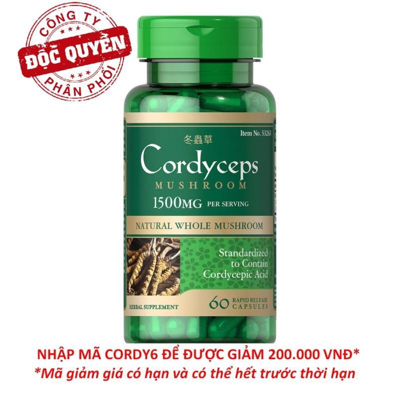 Viên uống đông trùng hạ thảo bổ phổi, bồi bổ sức khỏe, tăng cường sinh lý, hỗ trợ tim mạch Puritans Pride Cordyceps Mushroom 750mg 60 viên HSD tháng 2/2019 cao cấp