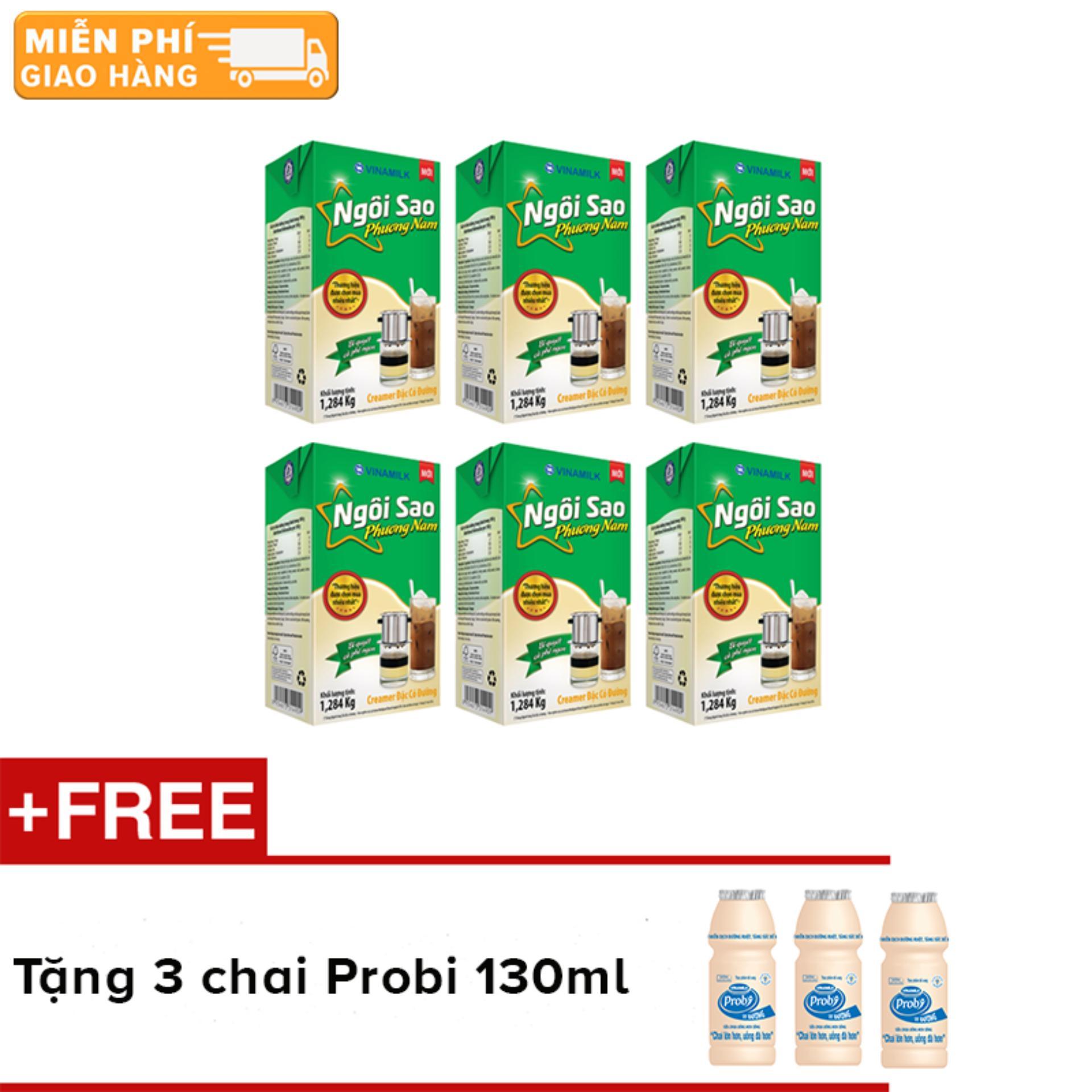 Bộ 6 hộp sữa đặc Ngôi Sao Phương Nam xanh lá - hộp giấy 1284g + Tặng 3 chai sữa chua uống Probi 130ml