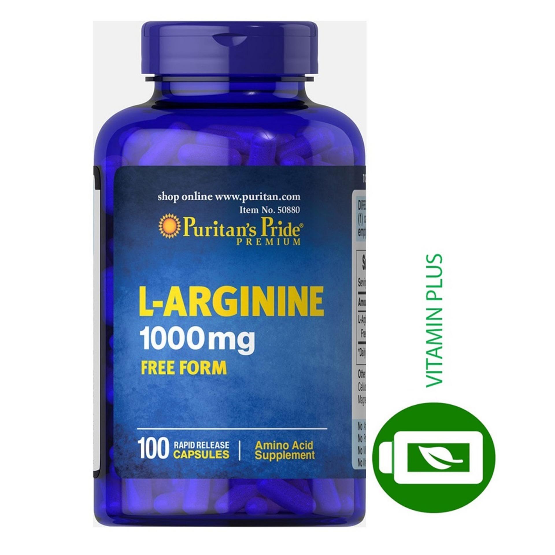 Hình ảnh Viên uống giải độc gan, cải thiện chức năng gan, giảm rối loạn cương dương Puritan's Pride L-Arginnine 1000mg 100 viên HSD tháng 9/2018