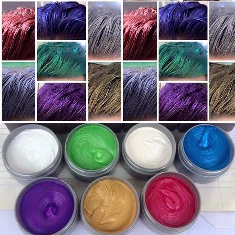 sáp vuốt tóc tạo màu 8 màu cho quý khách chọn: màu Xám khói - Bạch kim - Tím -  Xanh lam- Xanh rêu - Vàng - cafe đỏ nhập khẩu