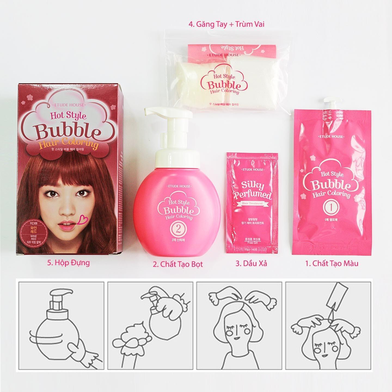 Nhuộm tóc dạng BỌT Màu đẹp Lâu trôi Etude House - Hot Style Bubble Hair Coloring nhập khẩu