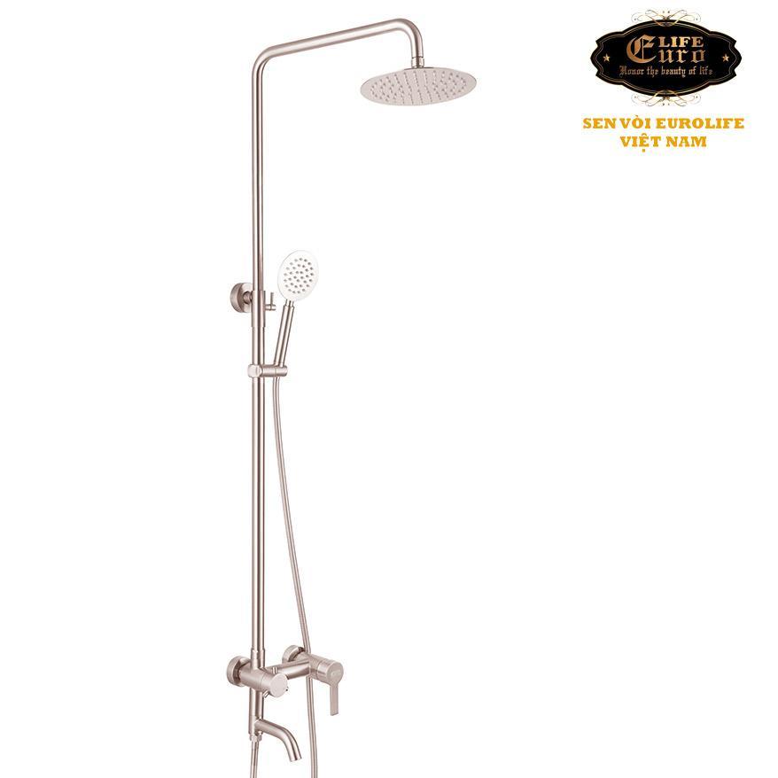 Hình ảnh Bộ sen cây tắm đứng nóng lạnh Inox SUS 304 Eurolife EL-S910 (Trắng vàng)
