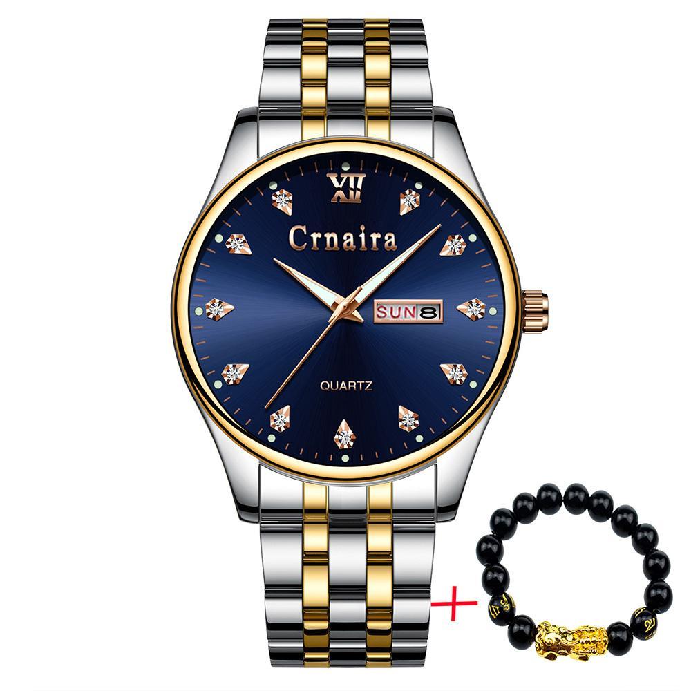Đồng hồ nam CRNAIRA CR9988 FC doanh nhân dây thép cao cấp + Tặng vòng tay cao cấp bán chạy