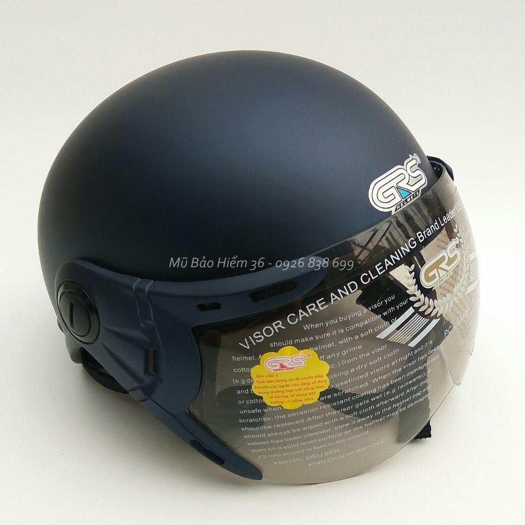 Mũ Bảo Hiểm Nửa Đầu Co Kinh Grs A33K Mau Xanh Tim Than Nham Grs Chiết Khấu 50