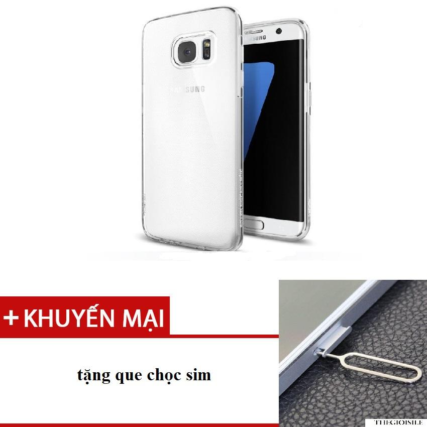 Ốp Silicon cho Samsung Galaxy S7 Edge (Trong suốt)  tặng que chọc sim cao cấp